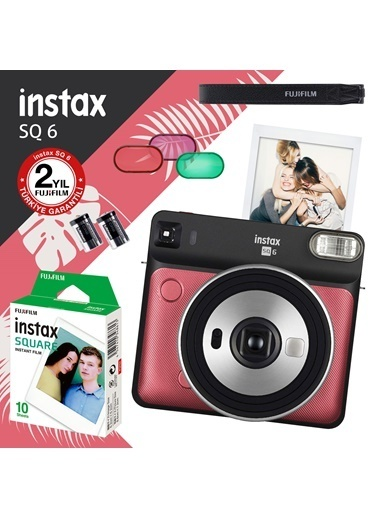 Fujifilm instax SQ 6 Ruby Red Fotograf Makinesi ve 10'lu Kare Film Renkli